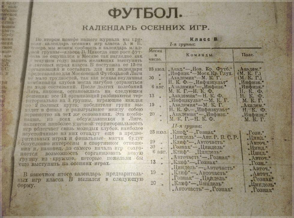 Чемпионат Москвы, группа «В»